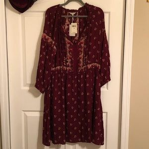 *Sale* Lucky Brand Burgundy floral dress
